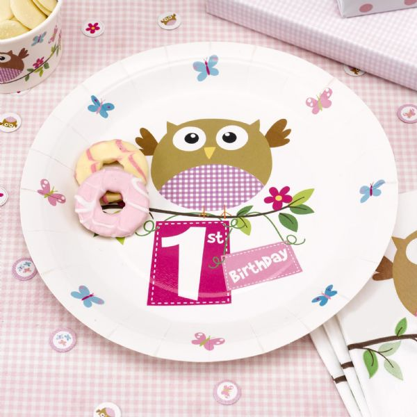 Little Owls Pink 1st Birthday Plates (8)
